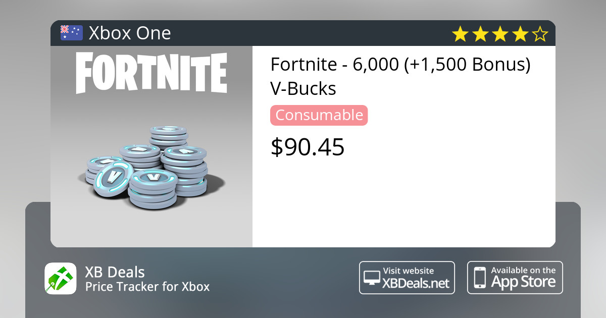 Fortnite 6 000 1 500 Bonus V Bucks Xbox One Buy Online And