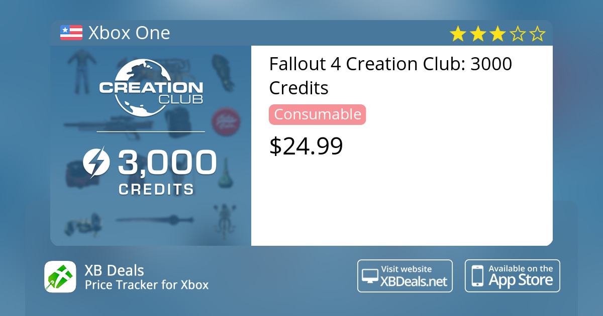 Fallout 4 Creation Club: 3000 Credits Xbox One — buy online and track price  - XB Deals United States