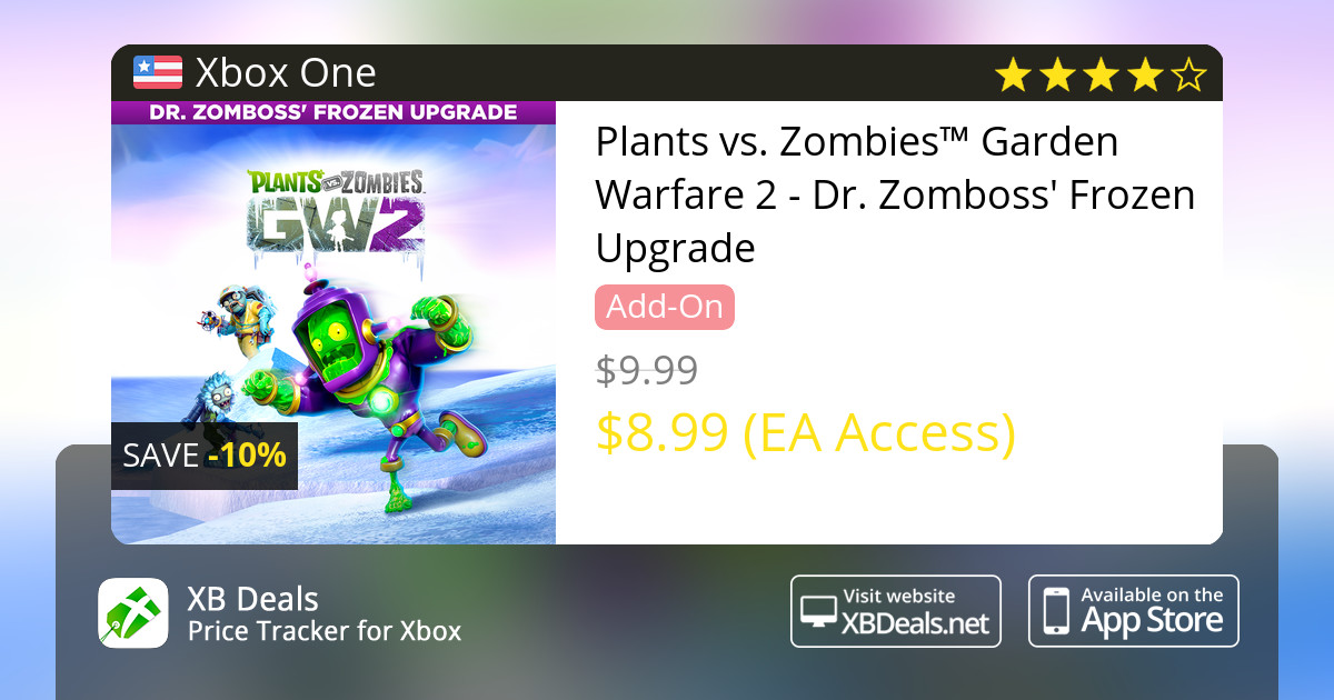 10% discount on Plants vs  Zombies™ Garden Warfare 2 - Dr  Zomboss' Frozen  Upgrade Xbox One — buy online - XB Deals United States