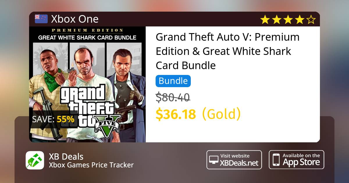 Grand Theft Auto V: Premium Online Edition & Great White Shark Card Bundle  Xbox One — buy online and track price - XB Deals New Zealand