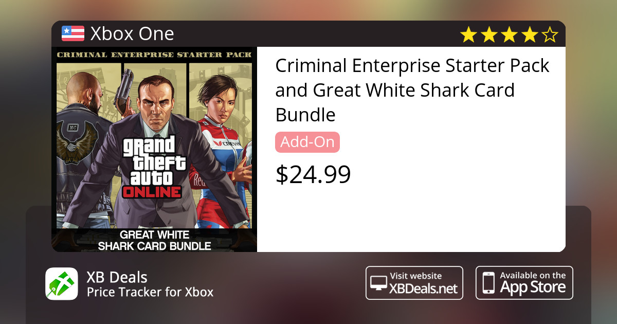 Criminal Enterprise Starter Pack and Great White Shark Card Bundle Xbox One  — buy online and track price - XB Deals United States