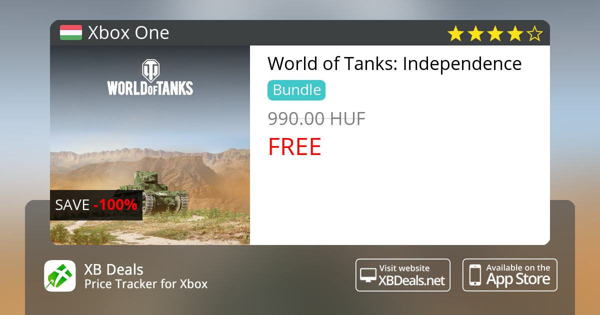 100% discount on World of Tanks: Independence Xbox One — buy online