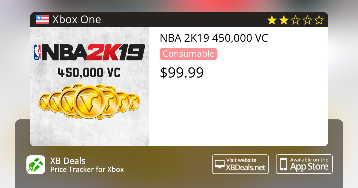 NBA 2K19 450,000 VC Xbox One — buy online and track price - XB Deals United  States