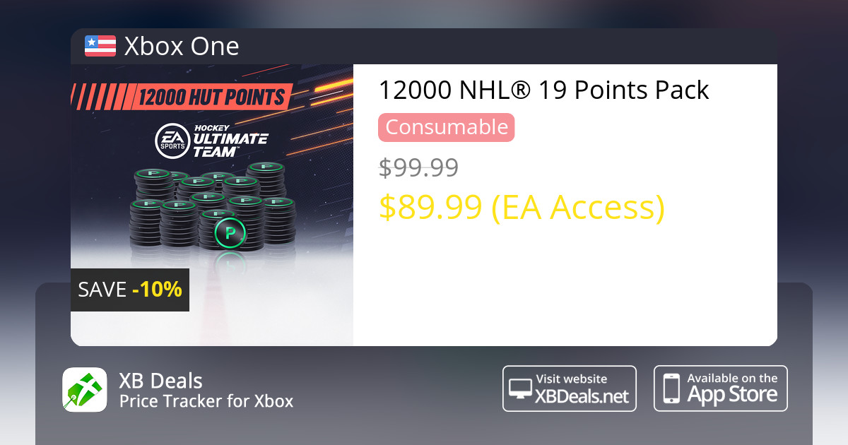 29b24a0fd 10% discount on 12000 NHL® 19 Points Pack Xbox One — buy online - XB Deals  United States