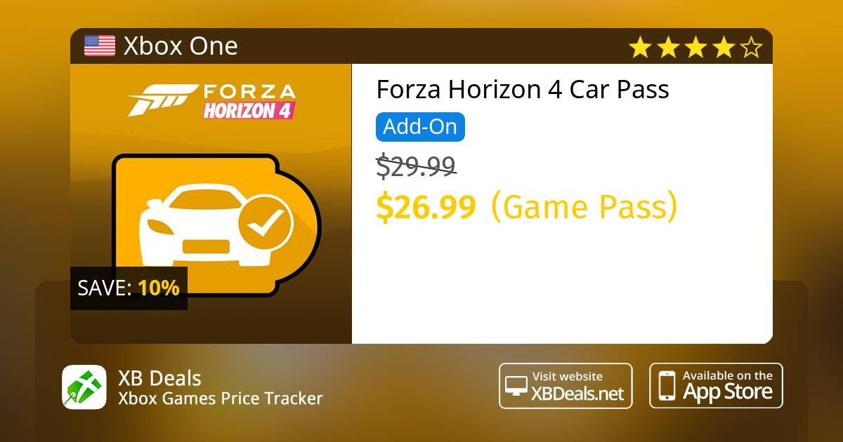 10% discount on Forza Horizon 4 Car Pass Xbox One — buy online - XB Deals  United States