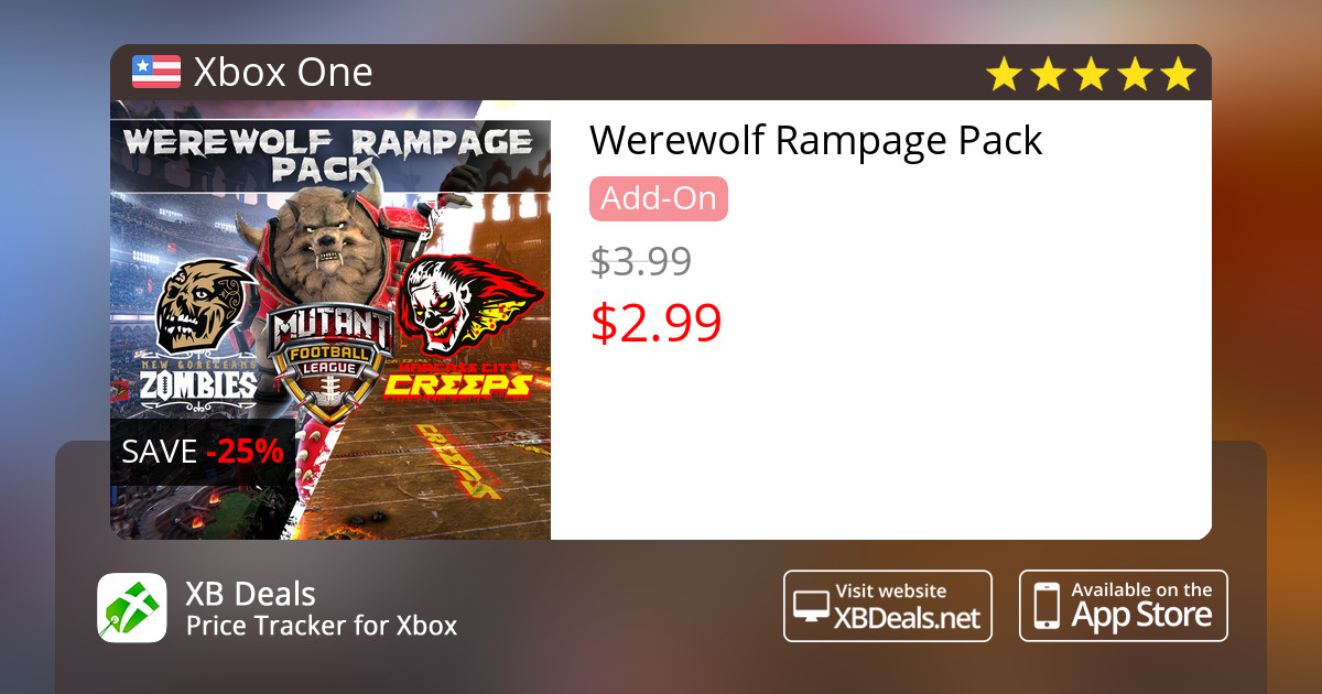 25% discount on Werewolf Rampage Pack Xbox One — buy online - XB Deals  United States