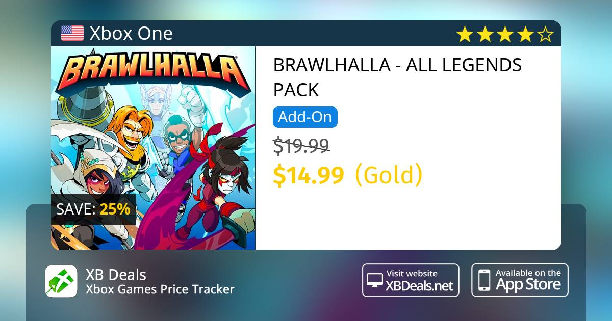 25% discount on BRAWLHALLA - ALL LEGENDS PACK Xbox One — buy online - XB  Deals United States