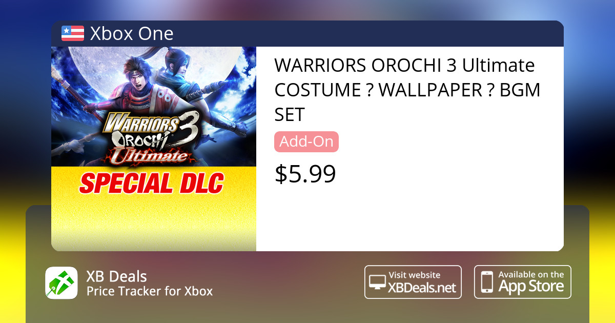 WARRIORS OROCHI 3 Ultimate COSTUME & WALLPAPER & BGM SET Xbox One — buy  online and track price - XB Deals United States