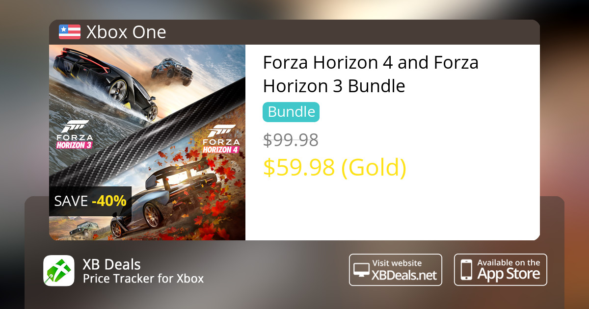 40% discount on Forza Horizon 4 and Forza Horizon 3 Bundle Xbox One — buy  online - XB Deals United States