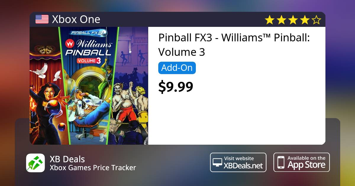 25% discount on Pinball FX3 - Williams™ Pinball: Volume 3 Xbox One — buy  online - XB Deals United States