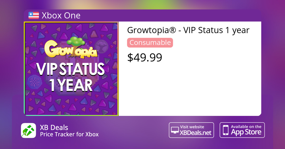 Growtopia® - VIP Status 1 year Xbox One — buy online and track price - XB  Deals United States