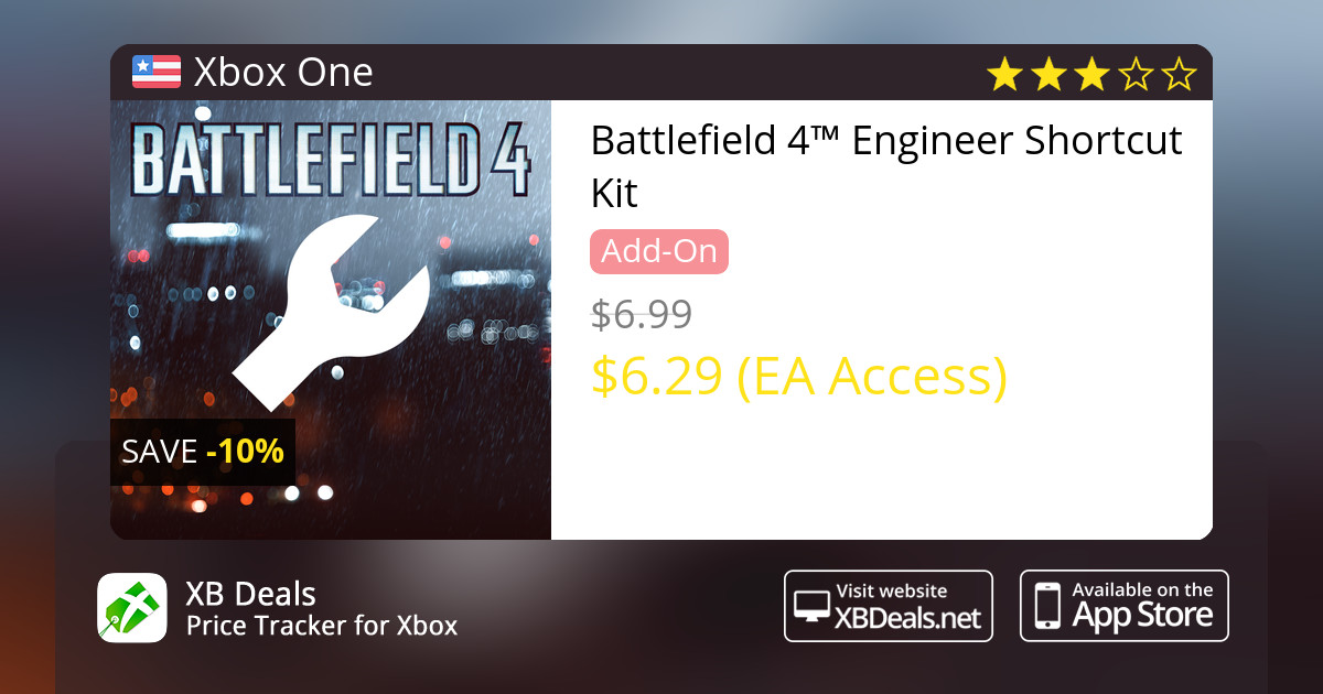 10% discount on Battlefield 4™ Engineer Shortcut Kit Xbox One — buy online  - XB Deals United States