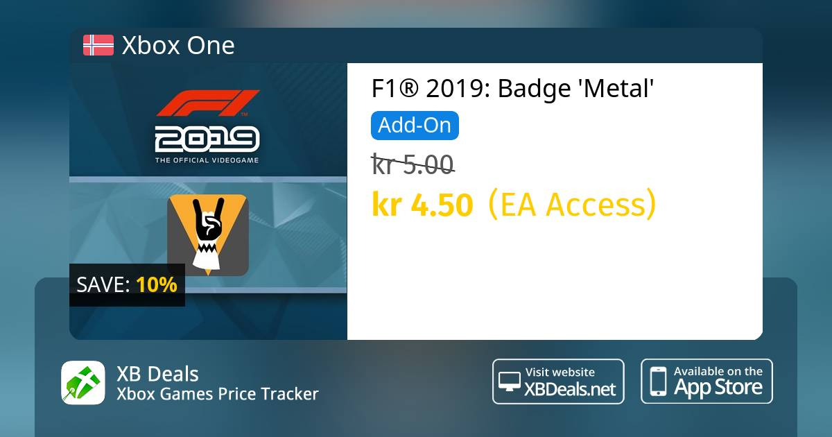 F1® 2019: Badge 'Metal' Xbox One — buy online and track price - XB Deals  Norway